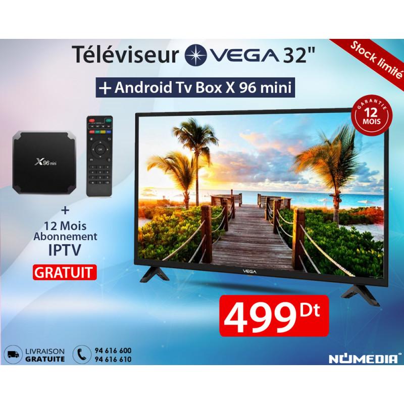 Pack Promo Téléviseur Vega 32 Pouces LED HD + Box TV Android X96 + IPTV d'usine