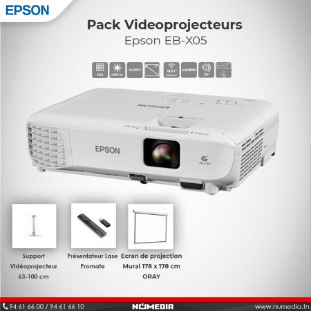 Pack Vidéo Projecteur Epson EB-X05, Pointeur, Ecran de projection Mural + Support Plafond