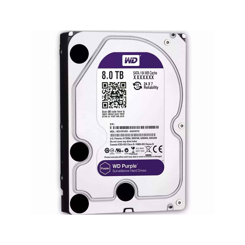 Western Digital WD82PURZ, Disque dur de surveillance 8To Purple SATA III 64Mo
